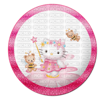 Hello kitty fée rond cercle fleur rose abeille ours Debutante pink round flower