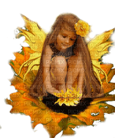 fairy child on sunflower enfant fee tournesol