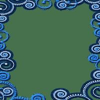 CADRE bleu ornament  FRAME BLUE