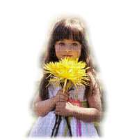 enfant fillette fleur  child girl flower