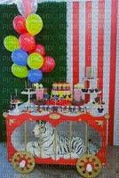 circus party table tiger balloons
