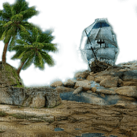 beach plage strand island insel meer ocean ship schiff navire pirates piraten night sea mer  summer ete paysage landscape fond background palm palme tube