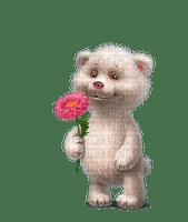 Gif ourson fleur