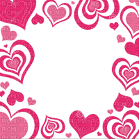 pink hearts frame cadre coeur