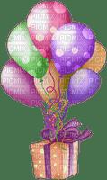 image encre couleur  anniversaire effet à pois ballons cadeau coin ornement edited by me