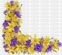 coin fleurs jaunes violettes
