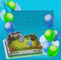 image encre gâteau pâtisserie bon anniversaire Cendrillon ballons mariage edited by me