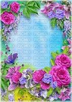 Fond bleu frame fleurs
