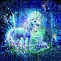 unicorn blue bg fond licorne bleu