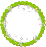 cadre cercle vert  Marguerite frame circle daisy flowers