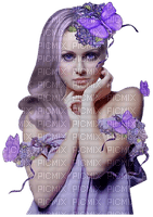 Kaz_Creations Woman Femme Purple Hair Butterflies