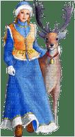 winter woman  with deer