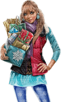 Woman with packages. Christmas. Winter. Leila