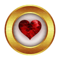 red heart  gold circle