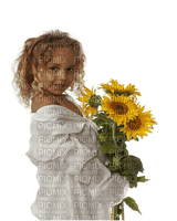 enfant fillette   tournesol child girl sunflowers