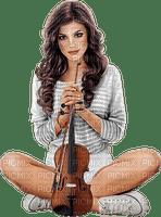 Woman playing violin. White. Grey. Leila