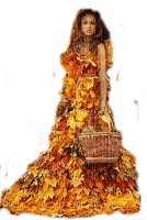 autumn woman dress leaves