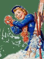 winter woman ski sport vintage - paintinglounge