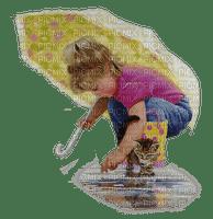 CHILD IN RAIN UMBRELLA enfant parapluie cat