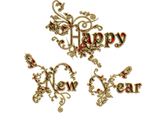 happy new year text vintage gold