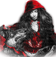 soave woman gothic wolf black white red