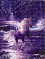 Witte Unicorn loopt in de zee