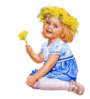 enfant pissenlit SPRING CHILD dandelion FLOWERS