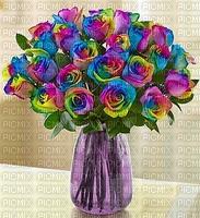 multicolore image encre bon anniversaire color effet fleurs bouquet bleu violet rose  edited by me