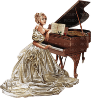 Woman playing piano. Brown. Leila