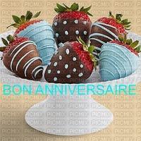 image encre bon anniversaire des fraises fête diplôme  edited by me
