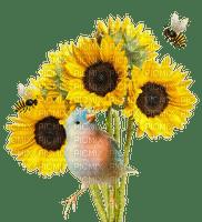 tournesol-canari-abeille- flower-bird-bee