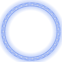blue glowing christmas lights circle frame