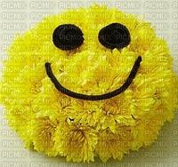 visage heureux jaune fleurs