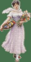 femme, lady, vintage girl flowers