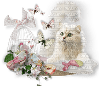 white cat deco butterfly flowers chat blanc papillon fleurs