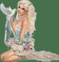Femme printemps oiseau blanc spring women femme papier