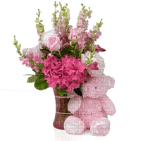 Pink Bouquet of Flowers with Teddy Bear