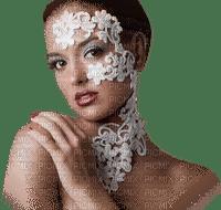 soave woman face fashion lace white