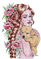 woman dog kikkapink flowers