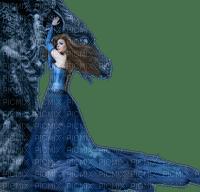 woman dragon blue femme bleu fantaisy
