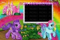 image encre bon anniversaire fantaisie château  poney fleurs color effet  edited by me
