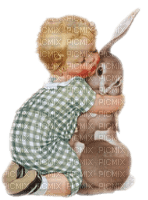 vintage easter child bunny paques enfant lapin