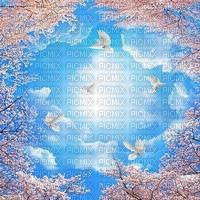 Fond debutante ciel oiseau arbre nuage bleu sky bg cloud bird