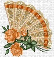 Eventail  rose orange