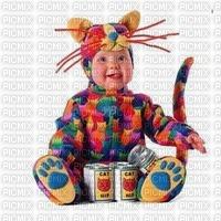 BB déguisé en chat multicolor