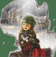 enfant hiver chat child cat winter vintage
