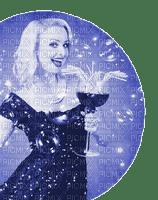 pin up woman blue dress femme
