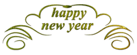 happy new year text gold banner deco or