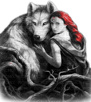 soave woman gothic fantasy wolf black white red