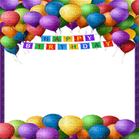 happy birthday frame balloons colorful cadre